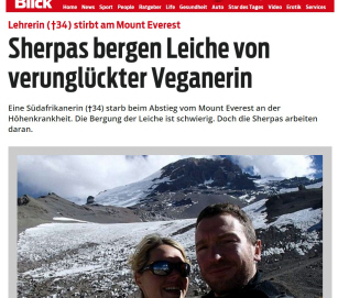 Veganerin Maria Strydom am Mount Everest
