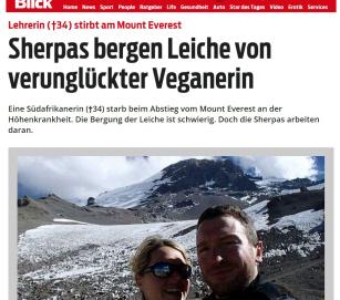 Veganerin Maria Strydom am Mount Everest